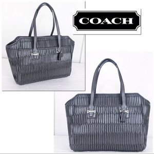 Coach Taylor Gathered Gray Leather Alexis Tote Bag